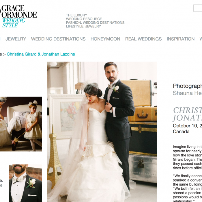 Featured on Grace Ormonde Wedding Style!