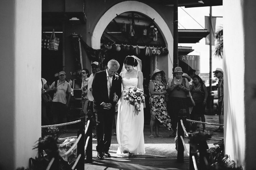 Wedding at little white chapel by the sea in Playa del Carmen