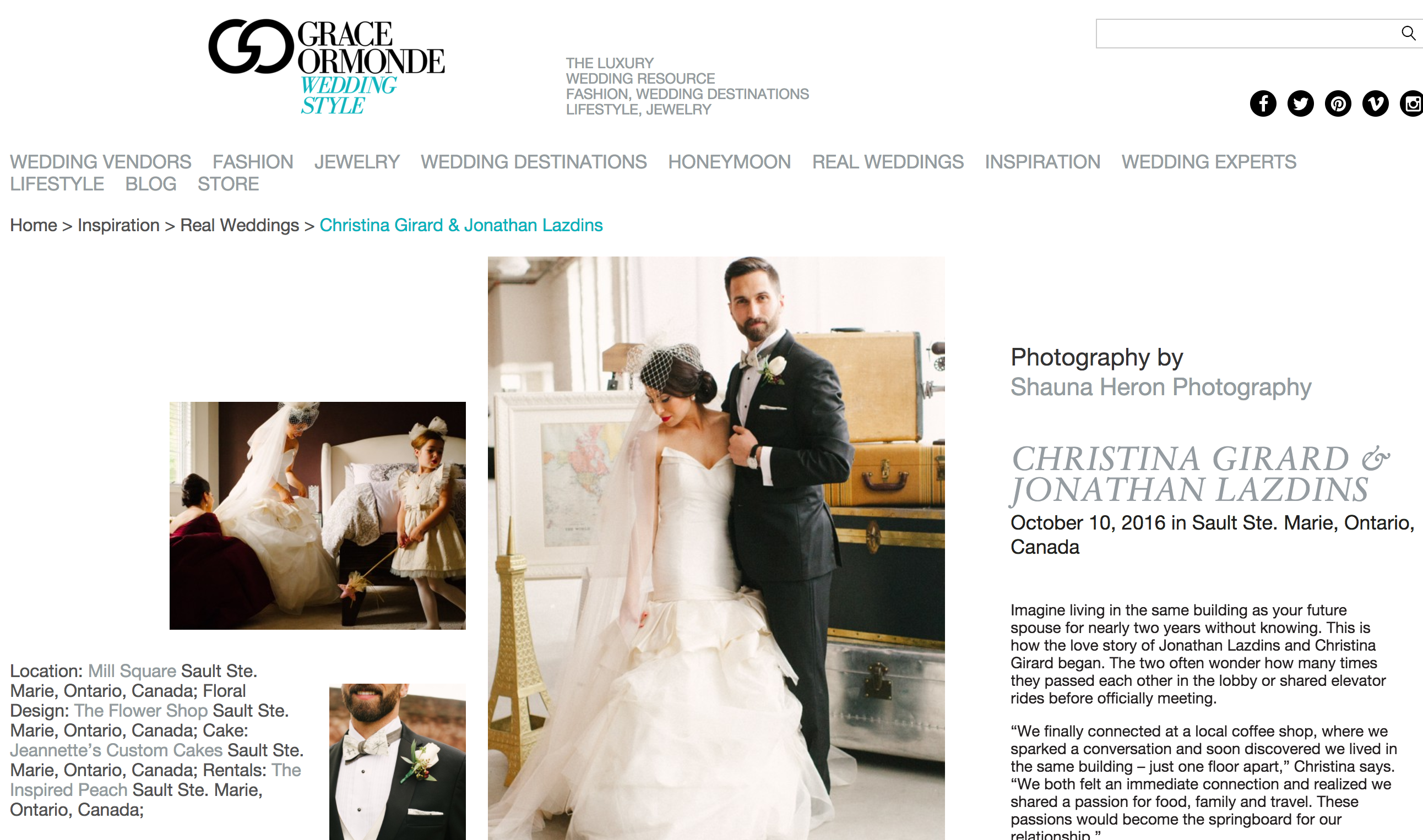 Shauna Heron Photography featured on Grace Ormonde Wedding Style